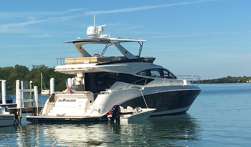 The Sea Ray yacht and Boston Whaler tender