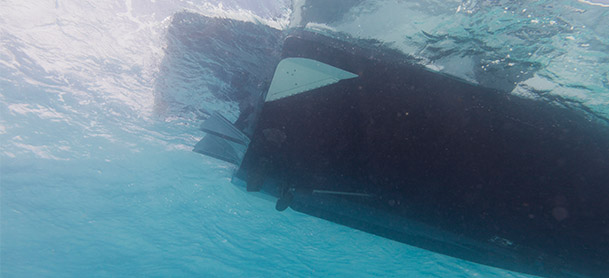 bottom of boat driving through water