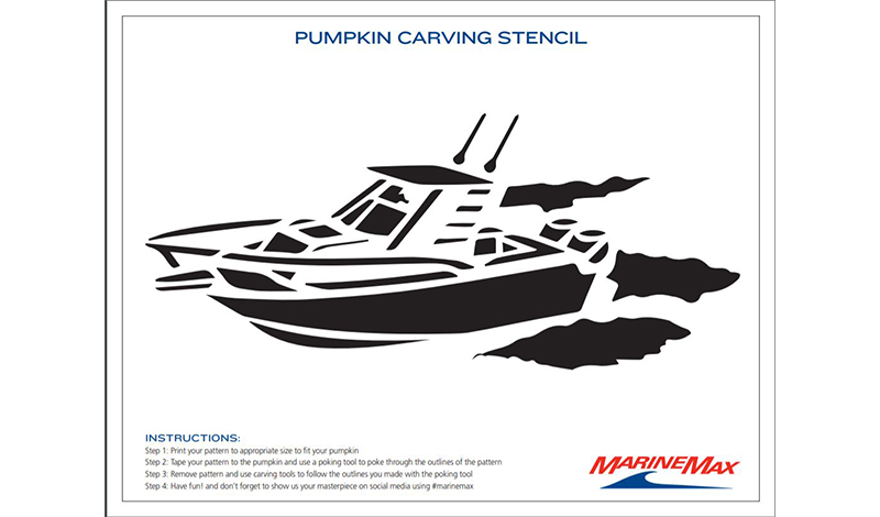 a pumpkin carving template in black and white with a boat on water