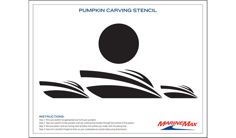 a pumpkin carving template in black and white with 3 boats on water