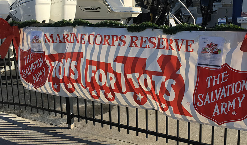 A banner saying Toys for Tots