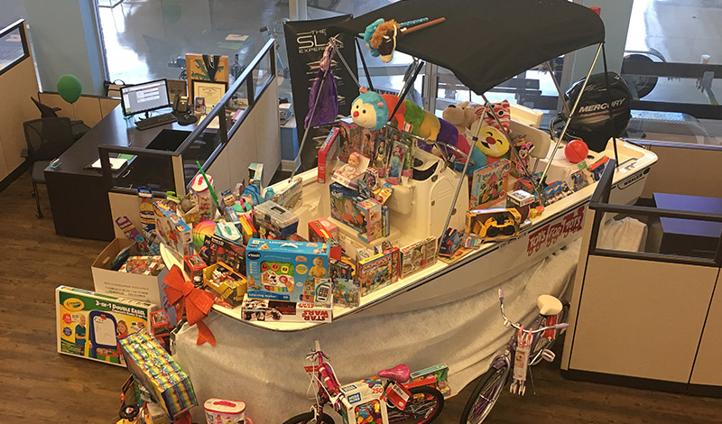 A boat filled with toys
