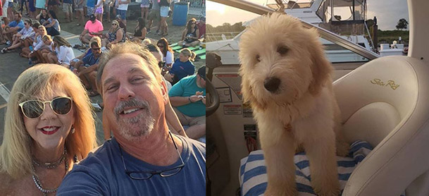 On left, man and woman smile for selfie. On right, a dog stands at helm of boat