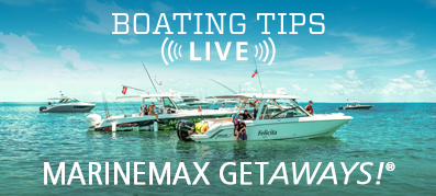 A group of boats gathered in the water for a MarineMax getaway
