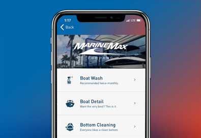 The MarineMax App menu shown on an iPhone screen