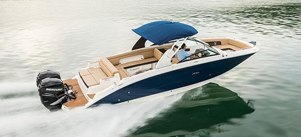 A Sea Ray SDX in the water