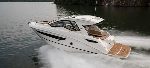 A Sea Ray Sundancer in the water