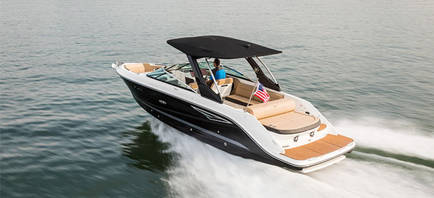 A Sea Ray SLX in the water