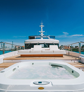 Front deck view of a Benetti yacht