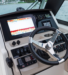 View of a Boston Whaler dashboard