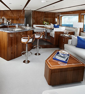 View of a bar area on the Hatteras yacht