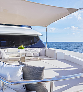 Lounge deck view on Ocean Alexander yacht