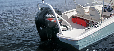 Back half of the new 2019 Boston Whaler 160 Super Sport showing engine