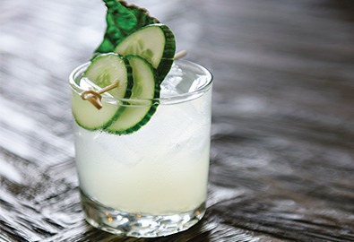 green gimlet cocktail in glass with cucumbers
