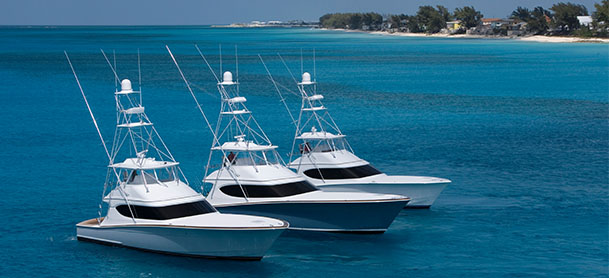 Hatteras yachts cruising side by side