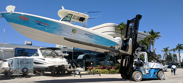 Boat being stored