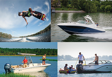 collage of boating lifestyles including a wakeboarder in the air, a boat running, two people fishing off a boat, and a family with inner tubes in the water behind a boat
