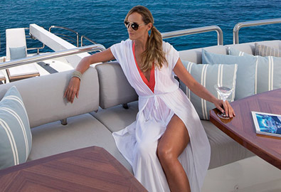 Women lounging on Ocean Alexander yacht