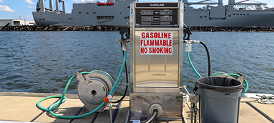 A gas pump at the MarineMax Baltimore fuel dock