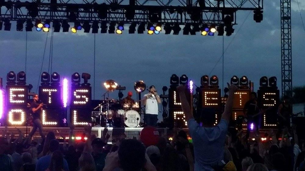 chase rice on stage during concert at st petes ribfest