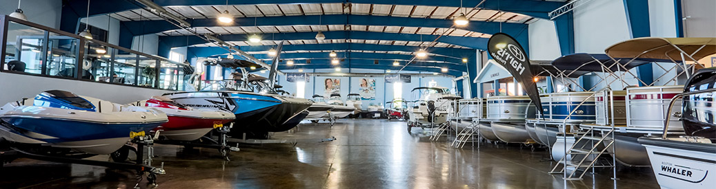 MarineMax Clearwater indoor showroom with boats
