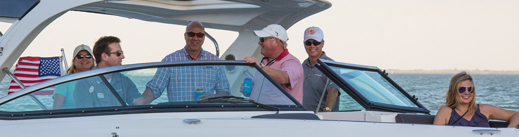 MarineMax Clearwater boat with group on board