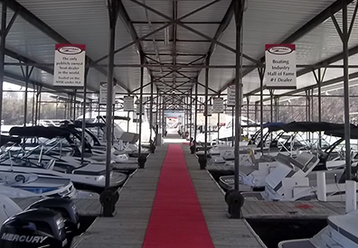 MarineMax Cumming showroom displaying multiple boats