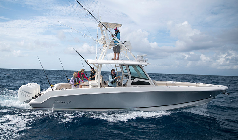 People fishing on the Boston Whaler 380 Outrage