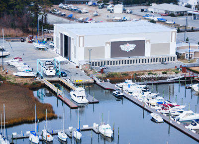 marinemax southport aerial view of the store and marina