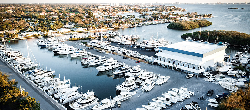 MarineMax St. Petersburg aerial view of store and marina