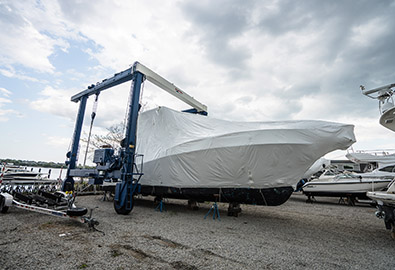 Boat wrapped for winter storage