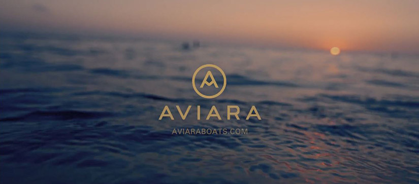 Aviara logo over water with the sun setting in the background