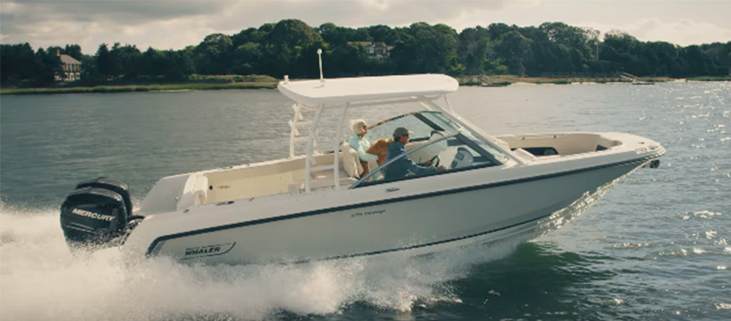 Boston Whaler cruising through the water