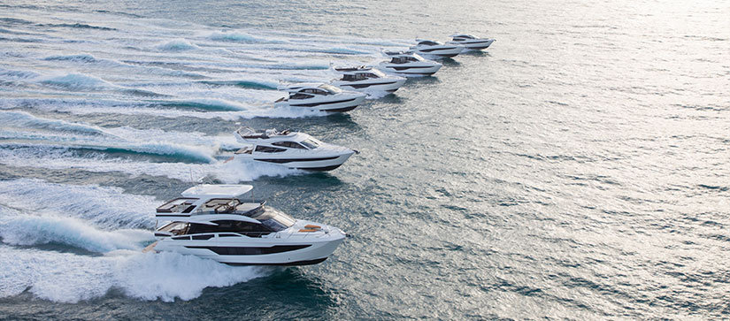 Galeon yachts lineup cruising through towards Miami