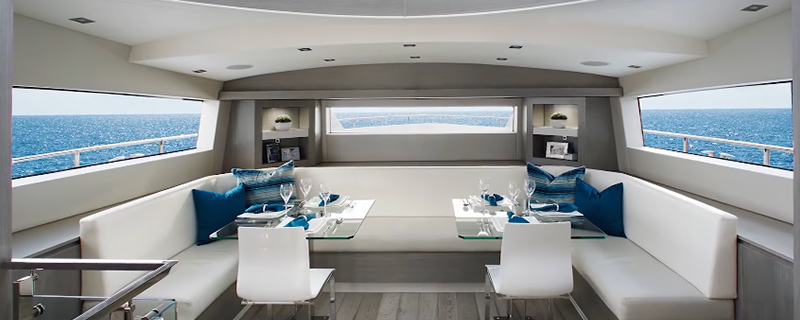 the inside of a Hatteras 70 Motor Yacht