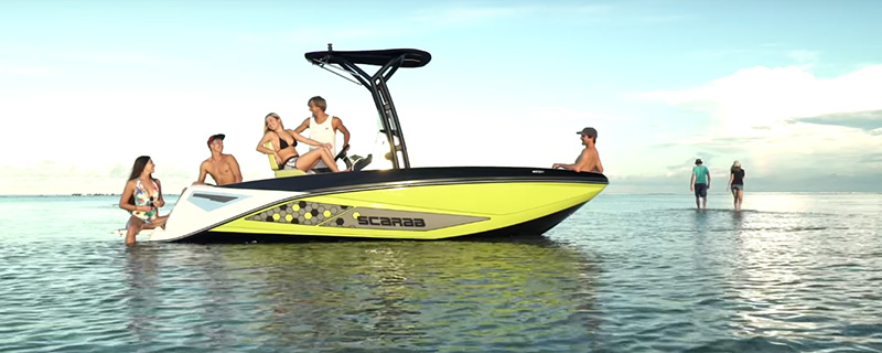 People having fun on a anchored boat - Scarab Jet Boats 2017 Lineup Video
