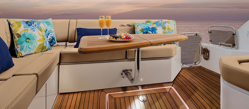 Sea Ray sitting area with food served - Sea Ray Fly 460 Video