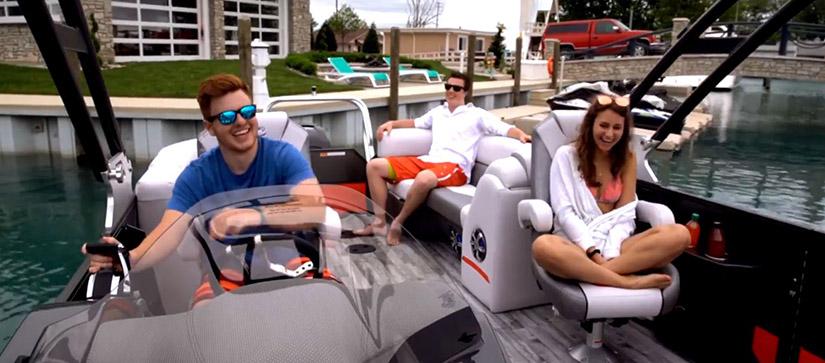 group of friends on a pontoon