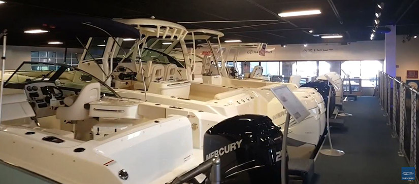 boats lined up inside a store