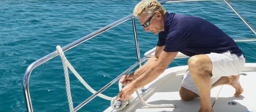 Harry showing how to do a figure of eight knot