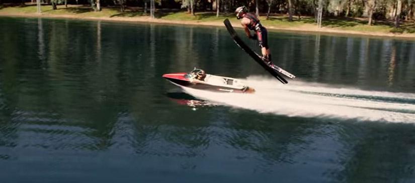 waterskiier in air