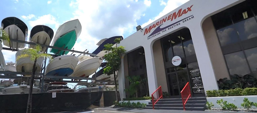 An exterior shot of the MarineMax Miami store