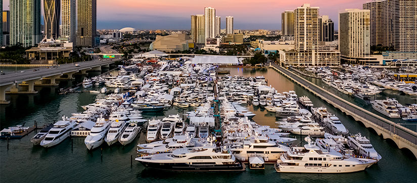 Aerial view of the Miami Yacht Show