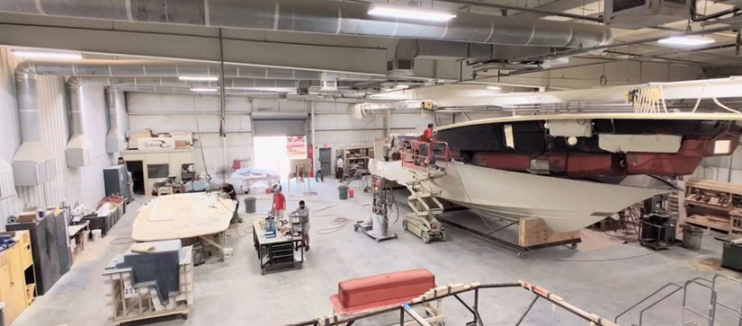 boat being built in a factory