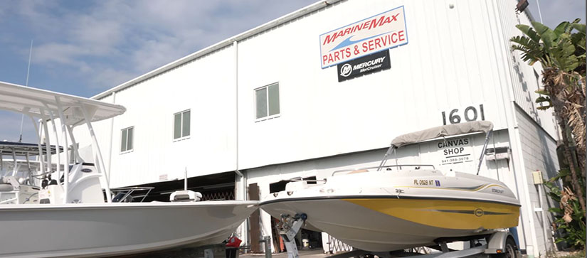 An exterior shot of a MarineMax service center