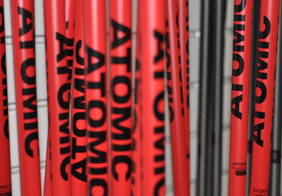 Atomic Ski Poles Red with black letters