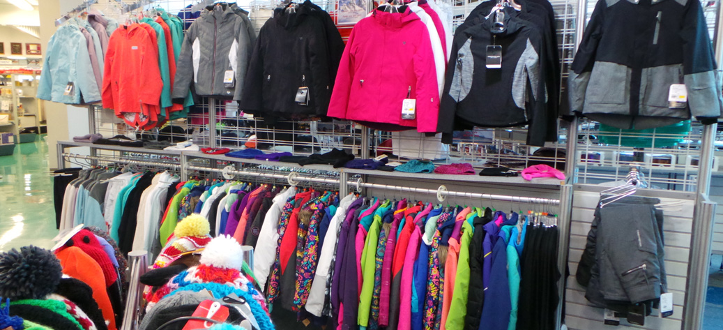 Various winter jackets on rack