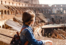 Woman enjoying Roman architecture in Paula