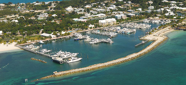 Aerial view of the Abaco Beach Resort marina