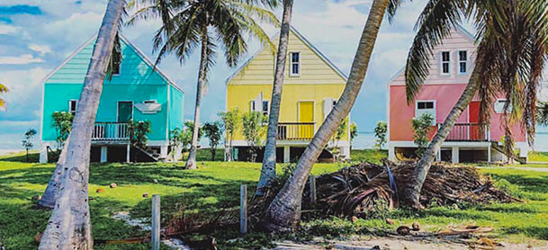 Three brightly colored houses in the Bahamas